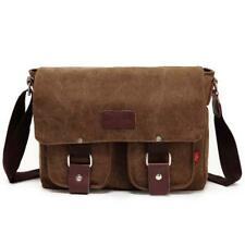 Mens Leather Canvas Satchel Messenger Bag School Hiking Travel Pack Coffee