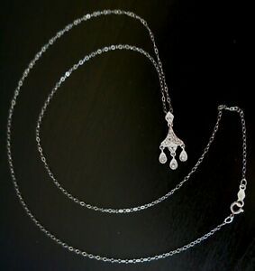 10K White Gold Stamped, Signed, 1.1 grams, Diamonds Pendant Necklace. New.