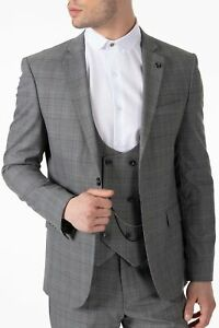 Jack Martin - Peaky Blinders Style - Grey Glen Check Tailored Fit 3 Piece Suit