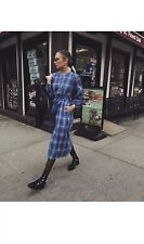 ZARA BLUE ROUND NECK CHECK TUNIC WITH PUFF SLEEVES DRESS WITH BELT SIZE XL BNWT