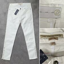 New - French Connection Maternity (12) Adjustable Waist Off White Skinny Jeans