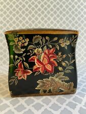 New listing Asian Black Lacquer Floral Tissue Box Cover Vtg Japan