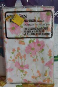 Vintage Morgan Jones Pink Floral Pillowcases NO-IRON Percale - NEW 2 Standard