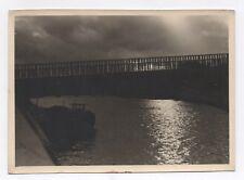 PHOTO Paysage de Nuit Vers 1950 Port Noir Nuage Mer Ciel nuageux Lumière Jeu