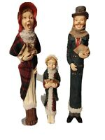 """3 Christmas Carolers Pencil Figurines Singing Holiday Resin & Cloth 9.5"""" Tall"""