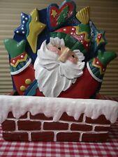 Joyful Santa Midwest Cannon Falls Wood Christmas Card Holder Decoration