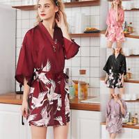 Women Satin Lace Sleepwear Bath Robe Pyjama Night Gown Nightdress Sleepwear New