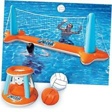Inflatable Pool Float Set Volleyball Net & Basketball Hoops; Balls Included