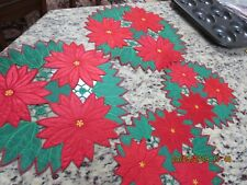 """Set Of 4 Vtg. Embroidered Poinsettia Doilies-(2) 11 1/2"""" -(1) 8""""-#R4"""