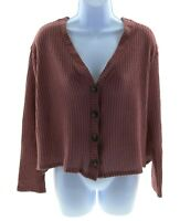 Pie In The Sky Juniors Plum Long Sleeve V Neck Top Size Large