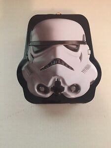 Star Wars StormTrooper Mask Helmet Shaped Embossed Tin Tote Lunchbox, NEW UNUSED