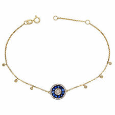 14k Yellow Gold 0.69ctw Sapphire & Diamond Halo Adjustable Bracelet