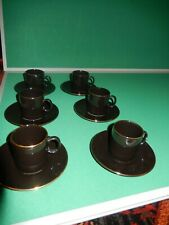 Hornsea Pottery 6 black/ gold  coffee cups and saucers made for Nescafe Espresso