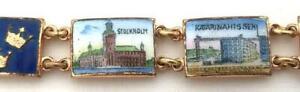 "Very Vintage 9 Panel Enameled Brass Europian Buildings Souvenir Bracelet 8"""