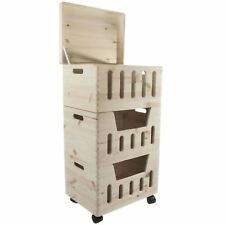 Household Supplies & Cleaning Retro Fruitsales Ltd Distressed Set Three Wooden Rustic Crates Storage Boxes Clear-Cut Texture