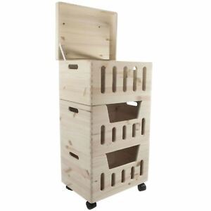 3 Tier Wooden Vegetable Food Fruit Storage Box Kitchen Crate Rack Lid / Wheels
