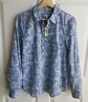 NWT Talbots Womens Navy Blue Paisley Ruffle Henley Blouse Top Shirt Size Small