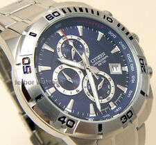 CITIZEN MEN CHRONOGRAPH TACHY BLUE FACE STAINLESS STEEL DATE 100m AN3490-55L cg