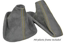 YELLOW STITCH MID GREY SUEDE MANUAL GAITER SET FITS BMW 5 SERIES E39 1996-2004