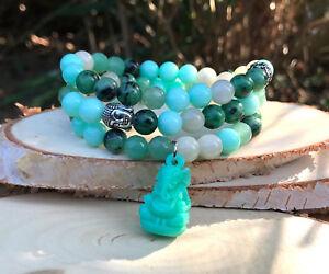 Ganesha Buddha Lotus Armband Jade Aventurin Rubin Zoisit Mala Armband