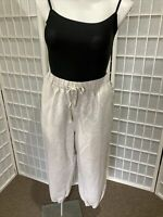 Women's Lane Bryant Sand Sz 18/20 Linen Blend Pull On Summer Capri