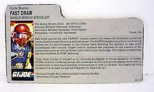 VINTAGE FAST DRAW FILE CARD G.I. Joe Action Figure GREAT SHAPE 1987
