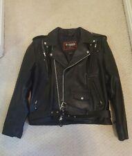 Motorcycle Biker Jacket Black Leather Men's L NEW