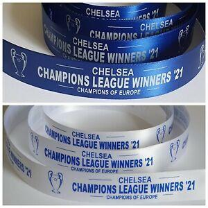 Chelsea Champions League Winners 21 Satin Ribbon 25mm