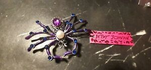 Betsey Johnson PURPLE  SPIDER Brooch.-FAST 3-5 DAY DELIVERY-NEW WITH TAGS