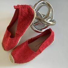 60f1430368e0fa GAP KIDS Espadrille Slip-On Red Eyelet Girls Size US 1 NEW