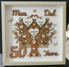 Personalised 50th Golden wedding anniversary 3D gift frame mum & dad