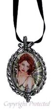 Marjolein Gulinski Erlina Fairy Pewter Cameo Necklace Green Wings Beauty