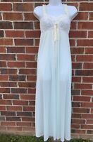 Olga Pale Blue Nightgown Small Vintage 1970s Long Nylon Lace Full Sweep Gown