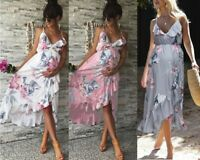 Women Maternity Chiffon Floral Dress Pregnant Casual Summer Party Beach Sundress