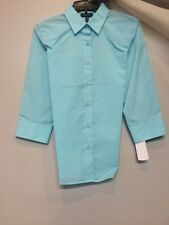 Foxcroft Women's Beach Glass 3/4 Sleeved Blouse Wrinkle Free Size 8 Misses