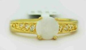 GENUINE OPAL & WHITE SAPPHIRES RING 14K GOLD PLATED ** New With Tag **