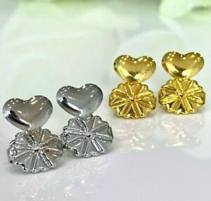 1 Pair Earring Lifters Gold Silver Earring Backs for Droopy Ears Hypoallergenic