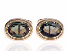 Art Deco 333 Rose Gold grüner Turmalin Manschettenknöpfe Cufflinks antik