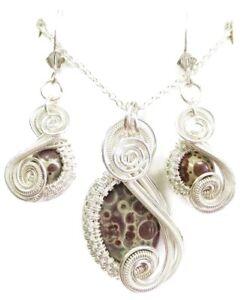 Orbicular Jasper & Swarovski Crystal Earrings/Necklace Set in Sterling Silver