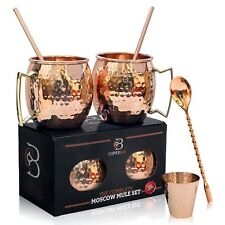 Moscow Mule Mugs 100% Solid Copper, Hammered, Gift Set of 2, 16oz, No Nicke