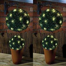 2 X 28cm potencia solar 20 LED Luz de Jardín Topiario Bola Colgante Adorno Verde