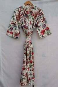Indian Long Bird Print Cotton Hippie Maxi Women Nightwear Kimono Dress Sleepwear