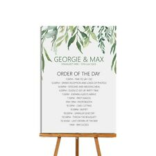 Greenery Order of the Day Wedding Sign, A4 or A3