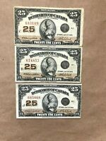 (3) 1923 DOMINION 25 CENT SHINPLASTER CAMPBELL-CLARK NOTES