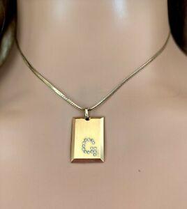 Vintage Designer Pierre Cardin Letter G Ingot Pendant Necklace
