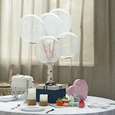 """10 Silver Clear 12"""" Round Latex Balloons with Confetti Party Wedding Light Gray"""