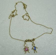CUTE 14K YELLOW GOLD LITTLE BOY AND GIRL PENDANT WITH CZ N491-Q