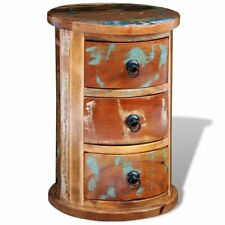 Reclaimed Solid Wood Round Storage Cabinet 3 Drawers Side Table Antique Vintage