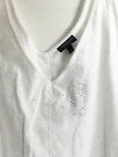 Lane Bryant White Eyelet Sleeveless Tunic Top - Size 26 -  New With Tags - Lined