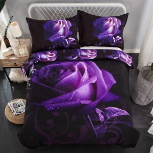 Purple Rose Floral Quilt Doona Duvet Cover Set King Size Bedding New Pillowcase
